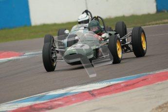 © Octane Photographic Ltd. Motors TV day – Donington Park,  Saturday 31st March 2012. Formula Junior 2nd session, Michael Hibberd - Lotus 27 and Jonathan Hughes - Brabham BT6. Digital ref : 0268cb1d0005