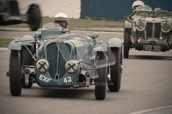 © Octane Photographic Ltd. Motors TV day – Donington Park, Saturday 31st March 2012. VSCC Pre-War Sportscars with a retro look edit, Delahaye 135. Digital ref : 0270cb1d9146