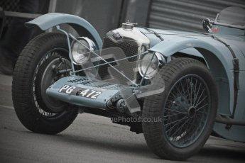 © Octane Photographic Ltd. Motors TV day – Donington Park,  Saturday 31st March 2012. VSCC Pre-War Sportscars with a retro look edit, Clive Temple - Riley Brooklands. Digital ref : 0270cb7d5476