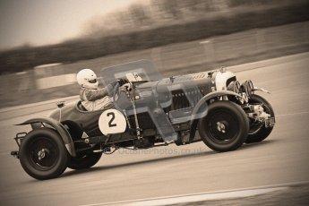 © Octane Photographic Ltd. Motors TV day – Donington Park,  Saturday 31st March 2012. VSCC Pre-War Sportscars with a retro look edit, Nigel Batchelor - Bentley 4 1/2 Blower. Digital ref : 0270cb7d5860