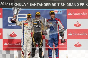 © 2012 Octane Photographic Ltd. British GP Silverstone - Saturday 7th July 2012 - GP2 Race 1, Johnny Cecotto, Esteban Gutierrez and Jolyon Palmer. . Digital Ref :