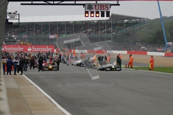 © 2012 Octane Photographic Ltd. British GP Silverstone - Sunday 8th July 2012 - GP2 Race 2 - The grid prepares in front on the huge Silverstone crowd. Digital Ref : 0401lw7d6855