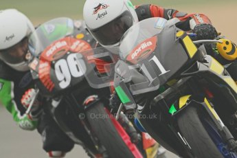 © Octane Photographic Ltd. Thundersport – Donington Park - 24th March 2012. Aprillia Superteens, Joe Sheldon-Show and Conor Wheeler. Digital ref : 0252cb7d1639