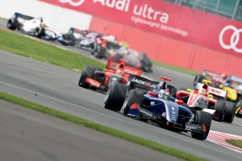 © Chris Enion/Octane Photographic Ltd. Formula Renault 3.5 Race 1 – Silverstone. Saturday 25th August 2012. Kevin Magnussen leads the pack on the opening lap - Carlin. Digital ref : 0470ce1d0216
