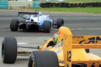 © Jones Photography 2012. 2nd June 2012 - Rupert Svendsen-Cook, Double R Formula 3, 2012 Dallara, Steve Griffiths, 1989 Lotus 101, Pembrey, Welsh Motorsport Festival. Digital Ref : 0366CJ1554