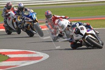 © Octane Photographic Ltd. World Superbike Championship – Silverstone, 2nd Free Practice. Saturday 4th August 2012. Leon Haslam leading the pack through Vale - BMW S1000 RR - BMW Motorrad Motorsport. Digital Ref : 0446cb7d1684
