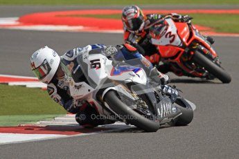 © Octane Photographic Ltd. World Superbike Championship – Silverstone, 2nd Free Practice. Saturday 4th August 2012. Leon Haslam - BMW S1000 RR - BMW Motorrad Motorsport and Max Biaggi. Digital Ref : 0446cb7d1786
