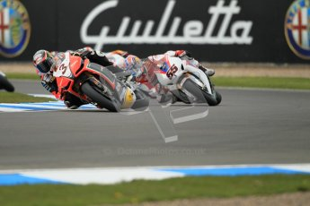 © Octane Photographic Ltd 2012. World Superbike Championship – European GP – Donington Park, Sunday 13th May 2012. Race 1. Max Biaggi and Jonathan Rea. Digital Ref : 0335cb1d5125