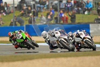 © Octane Photographic Ltd 2012. World Superbike Championship – European GP – Donington Park, Sunday 13th May 2012. Race 1. Leon Haslam, Marco Melandri and Tom Sykes. Digital Ref : 0335cb1d5296