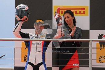 © Octane Photographic Ltd 2012. World Superbike Championship – European GP – Donington Park, Sunday 13th May 2012. Race 1 Podium. Marco Melandri celebrates BMW's 1st ever SBK win. Digital Ref : 0335lw7d7515