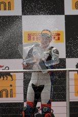 © Octane Photographic Ltd 2012. World Superbike Championship – European GP – Donington Park, Sunday 13th May 2012. Race 1 Podium. Leon Haslam sprays his Champaign. Digital Ref : 0335lw7d7565