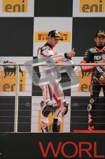© Octane Photographic Ltd 2012. World Superbike Championship – European GP – Donington Park, Sunday 13th May 2012. Race 2. Jonathan Rea celebrates as he takes the top step on the podium. Digital Ref : 0337cb1d5953