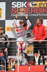© Octane Photographic Ltd 2012. World Superbike Championship – European GP – Donington Park, Sunday 13th May 2012. Race 2. Jonathan Rea and team Boss on the top step of the podium. Digital Ref : 0337cb1d5999