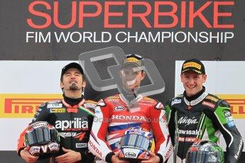 © Octane Photographic Ltd 2012. World Superbike Championship – European GP – Donington Park, Sunday 13th May 2012. Race 2. Jonathan Rea, Max Biaggi and Tom Sykes on the podium. Digital Ref : 0337cb1d6072