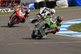 © Octane Photographic Ltd 2012. World Superbike Championship – European GP – Donington Park, Sunday 13th May 2012. Race 2. Tom Sykes, Max Biaggi and Leon Haslam. Digital Ref : 0337lw7d7940