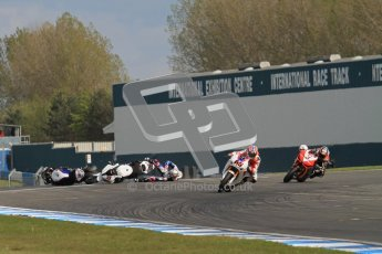 © Octane Photographic Ltd 2012. World Superbike Championship – European GP – Donington Park, Sunday 13th May 2012. Race 2. Jonathan Rea nips though to take the win as Leon Haslam and Marco Melandri crash on the last corner of the last lap whilst running 1-2. Digital Ref : 0337lw7d8433