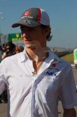 World © Octane Photographic Ltd. F1 USA GP, Austin, Texas, Circuit of the Americas (COTA), Sunday 17th November 2013 - Drivers' parade. Sauber C32 - Esteban Gutierrez. Digital Ref : 0860lw1d2511