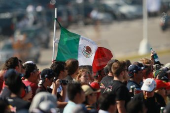 World © Octane Photographic Ltd. F1 USA GP, Austin, Texas, Circuit of the Americas (COTA), Sunday 17th November 2013 - Atmosphere. The Mexican fans cheering on Perez and Gutierrez on race day. Digital Ref : 0860lw1d2926