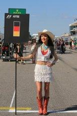 World © Octane Photographic Ltd. F1 USA GP, Austin, Texas, Circuit of the Americas (COTA), Sunday 17th November 2013 - Grid. Vettel's grid girl await the arrival of his car. Digital Ref : 0860lw1d5840