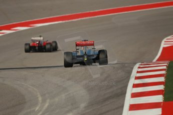 World © Octane Photographic Ltd. F1 USA GP, Austin, Texas, Circuit of the Americas (COTA), Sunday 17th November 2013 - Race. Scuderia Ferrari F138 - Felipe Massa and Vodafone McLaren Mercedes MP4/28 - Jenson Button. Digital Ref : 0861lw1d2730