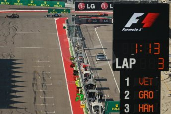 World © Octane Photographic Ltd. F1 USA GP, Austin, Texas, Circuit of the Americas (COTA), Sunday 17th November 2013 - Race. The Mercedes AMG SLS Safety car Returns to the pits. Digital Ref : 0861lw1d2801