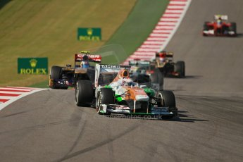 World © Octane Photographic Ltd. F1 USA GP, Austin, Texas, Circuit of the Americas (COTA), Sunday 17th November 2013 - Race. Sahara Force India VJM06 - Paul di Resta and Scuderia Toro Rosso STR 8 - Daniel Ricciardo. Digital Ref : 0861lw1d2901