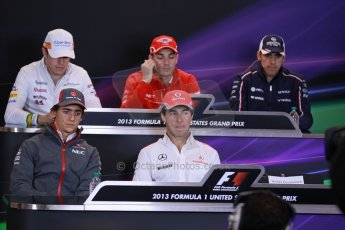 World © Octane Photographic Ltd. USA F1 Grand Prix, Austin, Texas, Circuit of the Americas (COTA). FIA Press Conference, Thursday 14th November 2013. Paul di Resta - Sahara Force India, Jules Bianchi - Marussia, Pastor Maldonado - Williams, Esteban Gutierrez – Sauber F1 Team, Sergio Perez - Vodafone McLaren Mercedes and the missing Heikki Kovalainen - Lotus F1 Team. Digital Ref : 0851lw1d1047