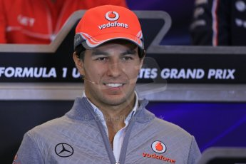 World © Octane Photographic Ltd. USA F1 Grand Prix, Austin, Texas, Circuit of the Americas (COTA). FIA Press Conference, Thursday 14th November 2013. Sergio Perez – Vodafone McLaren Mercedes.Digital Ref : 0851lw1d2580