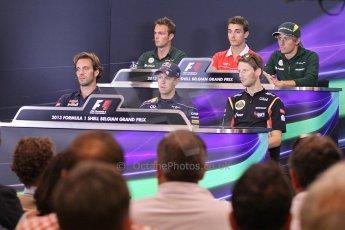 World © Octane Photographic Ltd. F1 Belgian GP - Spa - Francorchamps. Thursday 22nd August 2013. FIA Press Conference. Marussia F1 Team MR02 - Jules Bianchi, Marussia F1 Team MR02 - Jules Bianchi, Caterham F1 Team CT03 - Charles Pic, Scuderia Toro Rosso STR8 - Jean-Eric Vergne, Infiniti Red Bull Racing RB9 - Sebastian Vettel and Lotus F1 Team E21 - Romain Grosjean. Digital Ref : 0782lw1d4696