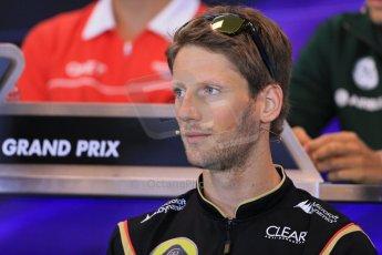 World © Octane Photographic Ltd. F1 Belgian GP - Spa - Francorchamps. Thursday 22nd August 2013. FIA Press Conference. Lotus F1 Team E21 - Romain Grosjean. Digital Ref : 0782lw1d6854