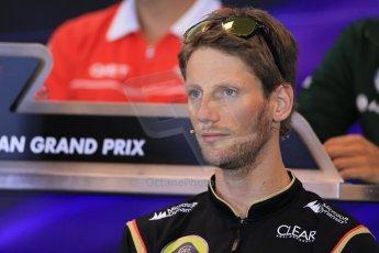 World © Octane Photographic Ltd. F1 Belgian GP - Spa - Francorchamps. Thursday 22nd August 2013. FIA Press Conference. Lotus F1 Team E21 - Romain Grosjean. Digital Ref : 0782lw1d6880