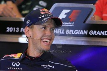 World © Octane Photographic Ltd. F1 Belgian GP - Spa - Francorchamps. Thursday 22nd August 2013. FIA Press Conference. Infiniti Red Bull Racing RB9 - Sebastian Vettel. Digital Ref : 0782lw1d6984