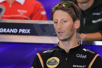 World © Octane Photographic Ltd. F1 Belgian GP - Spa - Francorchamps. Thursday 22nd August 2013. FIA Press Conference. Lotus F1 Team E21 - Romain Grosjean. Digital Ref : 0782lw1d7066