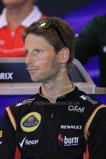 World © Octane Photographic Ltd. F1 Belgian GP - Spa - Francorchamps. Thursday 22nd August 2013. FIA Press Conference. Lotus F1 Team E21 - Romain Grosjean. Digital Ref : 0782lw2d6894