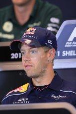 World © Octane Photographic Ltd. F1 Belgian GP - Spa - Francorchamps. Thursday 22nd August 2013. FIA Press Conference. Infiniti Red Bull Racing RB9 - Sebastian Vettel. Digital Ref : 0782lw2d6914