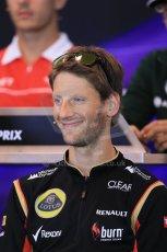 World © Octane Photographic Ltd. F1 Belgian GP - Spa - Francorchamps. Thursday 22nd August 2013. FIA Press Conference. Lotus F1 Team E21 - Romain Grosjean. Digital Ref : 0782lw2d6915