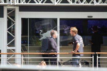 World © Octane Photographic Ltd. F1 Paddock, Belgian GP, Spa Francorchamps, Thursday 22nd August 2013. Martin Brundle and Jean-Eric Vergne - Scuderia Toro Rosso. Digital Ref :