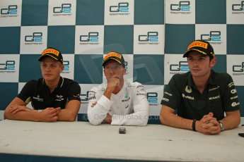 World © Octane Photographic Ltd. GP2 Belgian GP, Spa Francorchamps, Saturday 24th August 2013. Race 1 press conference. Sam Bird - Russian TIME, Marcus Ericsson - DAMS, Alexander Rossi - EQ8 Caterham Racing. Digital Ref : 0794cb7d3094