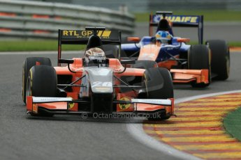 World © Octane Photographic Ltd. GP2 Belgian GP, Spa Francorchamps, Saturday 24th August 2013. Race 1. Dani Clos -  MP Motorsport and Adrian Quaife-Hobbs - Hilmer Motorsport. Digital Ref : 0794lw1d9689