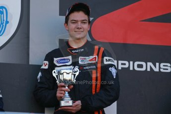 World © Octane Photographic Ltd. Brands Hatch, Race 1 Podium, Saturday 23rd November 2013. BRDC Formula 4 Winter Series, MSV F4-13, Will Palmer (1st) – HHC Motorsport. Digital Ref : 0864lw1d6794