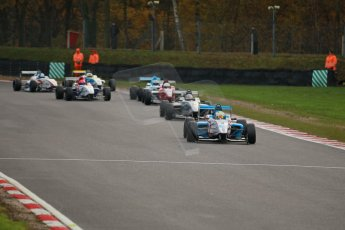World © Octane Photographic Ltd. Brands Hatch, Race 2, Saturday 23rd November 2013. BRDC Formula 4 Winter Series, MSV F4-13, Sennan Fielding – HHC Motorsport and Kieran Vernon - Hillspeed. Digital Ref : 0865lw1d6847