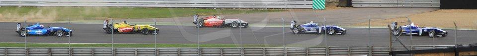 World © Octane Photographic Ltd. British Formula 3 – Brands Hatch. Saturday 10th August 2013 – Race 1. Jazeman Jaafar – Carlin – Dallara F312 Volkswagen leads the pack. Digital Ref : 0777cb7d3963