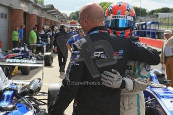 World © Octane Photographic Ltd. British Formula 3 – Brands Hatch. Saturday 10th August 2013 – Race 1. Race winner Jazeman Jaafar celebrates in parc ferme– Carlin – Dallara F312 Volkswagen. Digital Ref : 0777lw1d6483