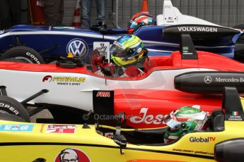 World © Octane Photographic Ltd. British Formula 3 – Brands Hatch. Saturday 11th August 2013 – Race 2. The top 3 pull up into parc ferme. Digital Ref :