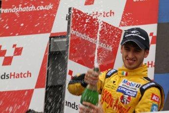 World © Octane Photographic Ltd. British Formula 3 – Brands Hatch. Saturday 11th August 2013 – Race 2. International championship podium - Antonio Giovinazzi – (Double R) celebrates. Digital Ref :