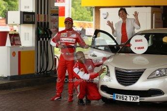 World © Octane Photographic Ltd. GP2 British GP, Silverstone, Thursday 27th June 2013. Felipe Massa - Scuderia Ferrari - Shell Towcester Pit Stop. Digital Ref : 0723lw1d9726