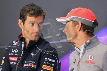 World © Octane Photographic Ltd. F1 British GP - Silverstone, Thrusday 27th June 2013. Vodafone McLaren Mercedes - Jenson Button taking with Mark Webber - Infiniti Red Bull Racing. Digital Ref : 0723lw7dx0039