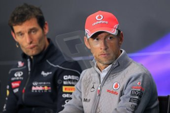 World © Octane Photographic Ltd. F1 British GP - Silverstone, Thursday 27th June 2013. Vodafone McLaren Mercedes - Jenson Button and Infiniti Red Bull Racing - Mark Webber. Digital Ref : 0723lw7dx0187