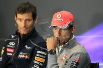 World © Octane Photographic Ltd. F1 British GP - Silverstone, Thursday 27th June 2013. Vodafone McLaren Mercedes - Jenson Button and Infiniti Red Bull Racing - Mark Webber. Digital Ref : 0723lw7dx0336