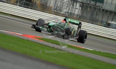 World © Octane Photographic Ltd./Carl Jones. Caterham F1 Team with Alexander Rossi demos at Silverstone, 19th October 2013. Digital Ref : 0845cj7d0036